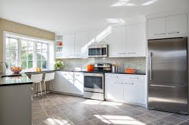 Modern White Kitchen Cabinets With Black Countertops Contemporary Family Home Designed For Entertaining Claire Paquin