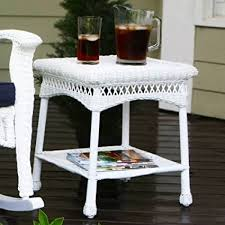 white wicker side table amazon com portside wicker side table white garden outdoor