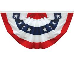 Embroidered American Flag All Embroidered Star Pleated Fan 18x36