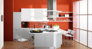 peinture d armoire de cuisine peinture murale cuisine orange et armoires blanches idées de