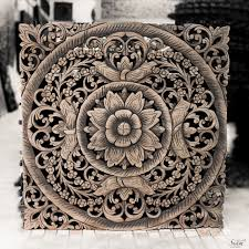 Asian Wall Decor Thai Wooden Wall Panel Wall Hanging Floral Wood Carved Wall