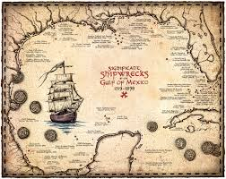 florida shipwrecks map shipwreck map of the gulf of mexico artwork 15 x 19