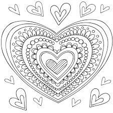 18 dessins de coloriage Mandala Coeur à imprimer