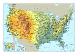 The United States Of America Map by Large Physical Map Of The Usa With Roads And Major Cities In