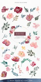 burgundy flowers burgundy blush navy watercolor flowers clipart set