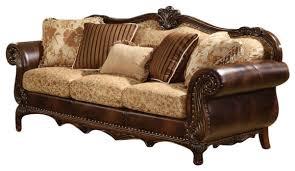 Traditional Sofa Acme Remington Bonded Leather And Fabric Traditional Sofa