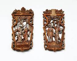 antique carved wood panel carved of two characters