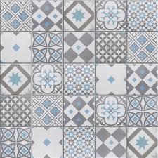 carrelage cuisine mosaique mosaïque sol et mur gatsby décor gris et bleu 6 17 x 6 17 cm