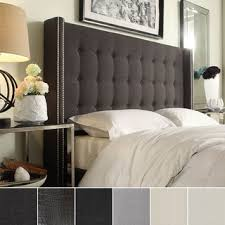 King Size Padded Headboard Inspire Q Marion Faux Alligator Leather Nailhead Wingback Tufted