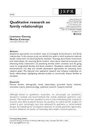how to write a qualitative research paper qualitative research on family relationships pdf download available