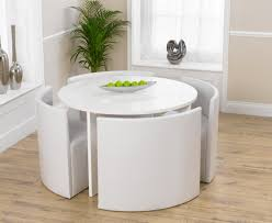 White Circle Table by Oslo 120cm White High Gloss Stowaway Dining Table And Chairs The