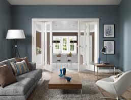 Wandfarbe Gestaltung Esszimmer Modernes Wohnzimmer Blau Mit Falt Innentüren Weiß Freshouse