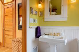 Bathroom With Beadboard Walls by Bathroom Gorgeous Yellow Bathroom Décor With Yellow Walls And