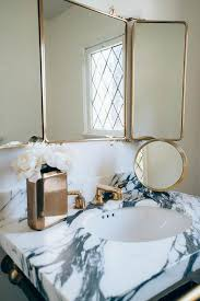 Vanity Mirror Tri Fold Waterworks Brass Vanity Mirror Transitional Bathroom