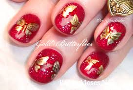 diy gold butterfly nail art design tutorial for short red nails