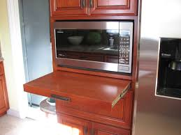 Kitchen Microwave Cabinets Oak Wooden Cabinet Painted With Brown Color With Microwave Shelf