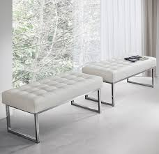 contemporary upholstered bench leather metal white style