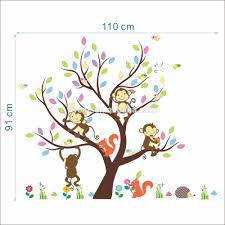syene cartoon cute monkey forest animals family tree wall sticker syene cartoon cute monkey forest animals family tree wall sticker decal 3d kids room wallpapers home