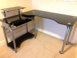 Black Glass Computer Desks For Home Corner Computer Desk Home Painting Ideas Within Glass Computer