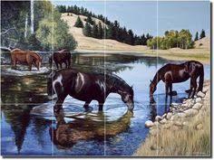 Ceramic Tile Mural Backsplash by Senkarik Western Horses Cowboy Ceramic Tile Mural Backsplash 25 5