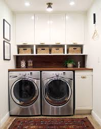 before and after a bathroom turned laundry room compact laundry
