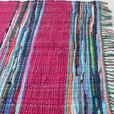 Cotton Weave Rugs Fairtrade Mexican Style Panelled Cotton Rag Rug Grey Teal