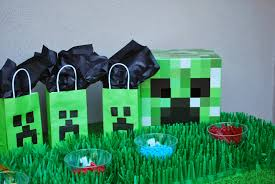 minecraft goody bags pinkblingcrafter a minecraft birthday party with a minecraft cake