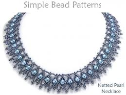 beaded necklace patterns images Netting necklace pattern with pearls jewelry making tutorial jpg