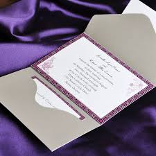 purple wedding invitations purple and gray pocket wedding invitation cards ewpi027 as