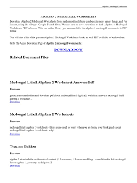 algebra 2 mcdougall worksheets pdf algebra portable document
