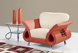 Orange Leather Sofa U559 Living Room Sofa Set In Beige Orange Leather By Global