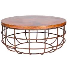 coffee tables splendid brown rectangle industrial copper top