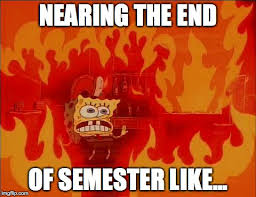 End Of Semester Memes - burning spongebob imgflip