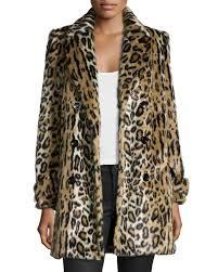 Leopard Print Faux Fur Throw Alice Olivia Montana Leopard Print Faux Fur Coat In Black Lyst