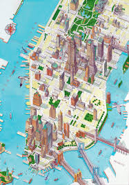 Maps Of New York by Large Detailed Panoramic Drawing Map Of Lower Manhattan Nyc
