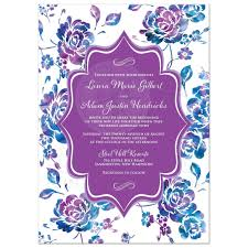 wedding invitation watercolor floral purple teal turquoise