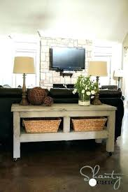 console table behind sofa table behind sofa 8 sneaky small space solutions shelf behind table