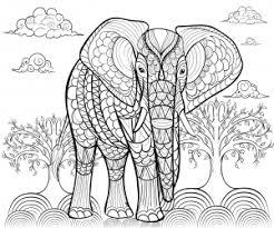 Eléphants  Coloriages difficiles pour adultes