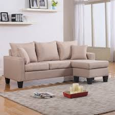 Couch Small Space Living Room Microfiber Small Sectional Sleeper Sofa In Granite