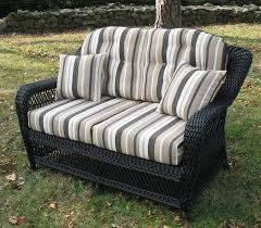 wicker loveseat cushion replacement set made of striped pattern