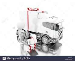 presents delivery 3d illustration white delivering a gift box with truck and