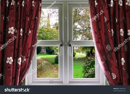 window curtains view english church garden stock photo 64909270