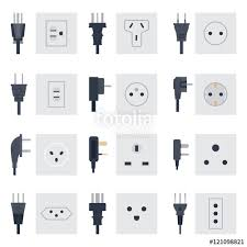 electric outlet illustration on white background energy socket