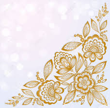 gold flowers background decorated with beautiful carved corner gold flowers