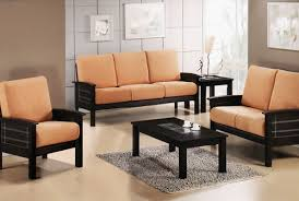 Black Wooden Sofa Set With Peach Fabric Of Seats Pretty - Wooden sofa design