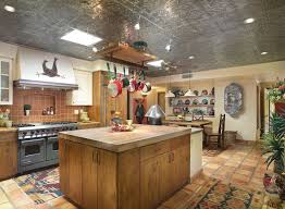 bright rustic kitchen decor ideas medalion pattern ceiling ceramic