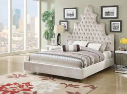 White Queen Sleigh Bed Bed Frames White Tufted Bed With Crystals Upholstered Bed With