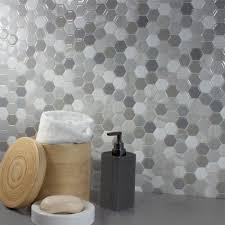 Hexagon Backsplash Tile by Smart Tiles Hexagon Travertino 9 76 In W X 9 35 In H Peel And