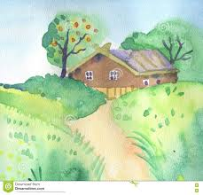 summer landscape with cute little house stock illustration image