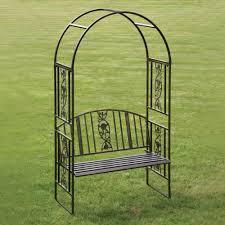 ornamental metal top garden arbour bench from westmount